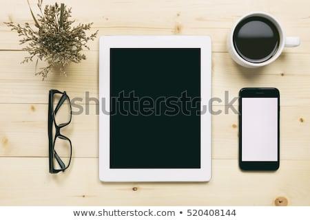 Cappucchino digitális tabletta asztal büfé internet Stock fotó © wavebreak_media