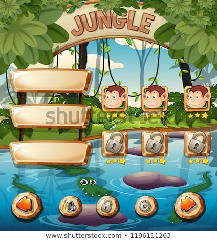 A Jungle Game Template with Monkey Stock photo © bluering