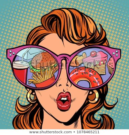 Stockfoto: Vrouw · zonnebril · fast · food · snoep · reflectie · komische