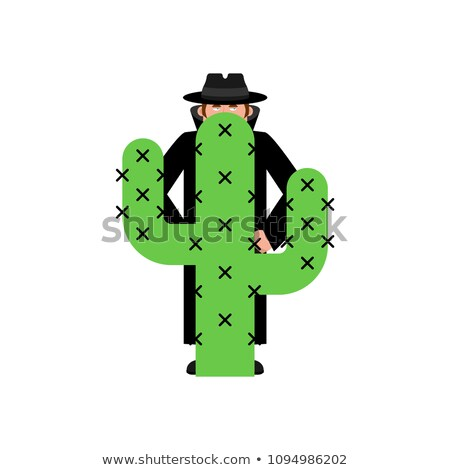 Spy Cactus. Secret Agent and Desert Plant. Vector illustration Stock photo © popaukropa