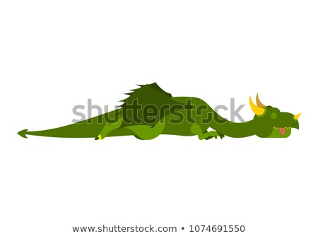 Sleeping dragon. Mythical monster asleep. Vector illustration Stock photo © popaukropa