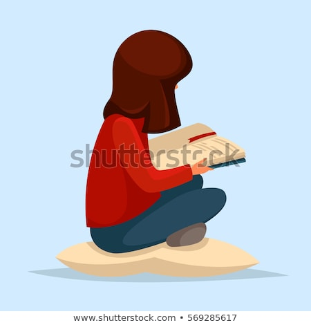 Little girl and pillow . Female child holding cushion. Vector il Stock photo © MaryValery