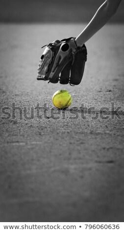 Beyzbol eldiveni sarı beysbole benzer top oyunu örnek yalıtılmış beyaz Stok fotoğraf © hittoon