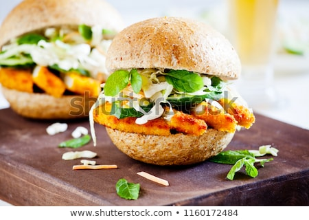couple of burgers with fried chicken breast stock photo © mpessaris