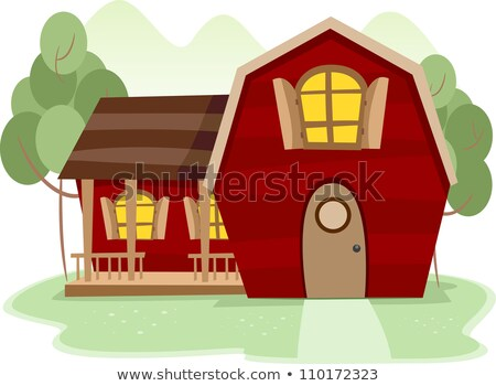 red barn farm scence stock photo © bluering