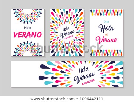 Hello summer spanish greeting card label set  Stock photo © cienpies