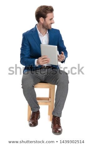 Casual hombre tableta algo lado blanco Foto stock © feedough
