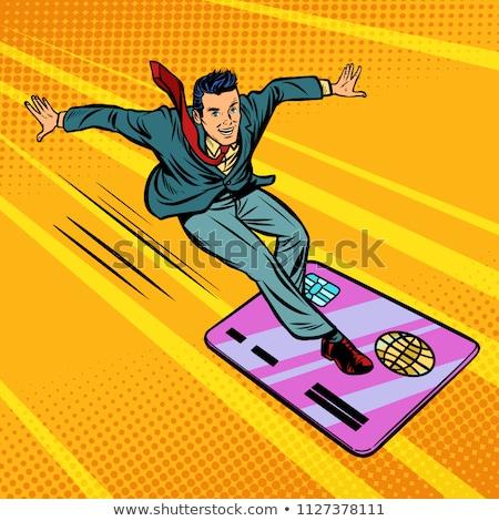 boldog · férfi · vásárlás · hitelkártya · illusztráció · rajz - stock fotó © rogistok