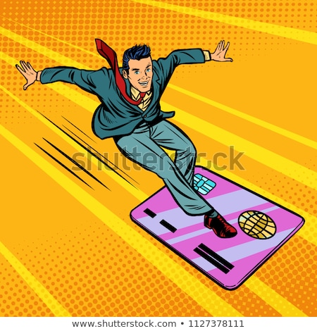 Zakenman creditcard snowboarden surfen komische cartoon Stockfoto © rogistok