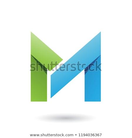 Yeşil mavi katlanmış kâğıt mektup m vektör Stok fotoğraf © cidepix