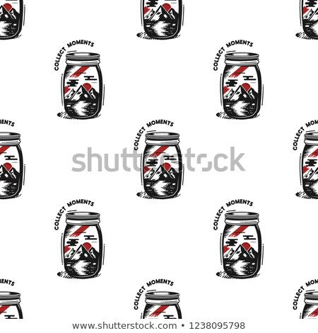 Travel Jar seamless pattern in silhouette and red retro style. Vintage hand drawn camping symbols wa Stock photo © JeksonGraphics