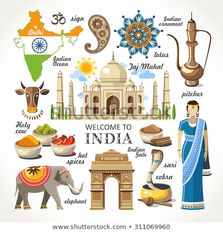 Set of India cultural country and landmarks ornament illustration concept. Art traditional, book, po Stock photo © Linetale