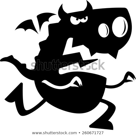 Cartoon Dragon Silhouette Charging Stock photo © cthoman