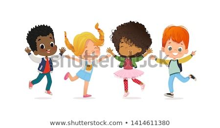 multiracial group of kids playing together vector isolated illustration stock photo © pikepicture