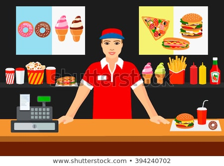 Hot Dog Seller and Customer Vector Illustration Stock photo © robuart