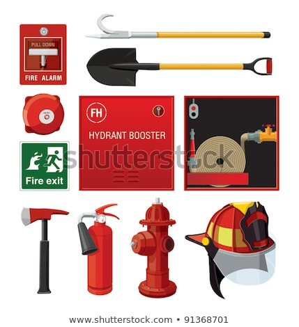 Emergency icon, red fire alarm system and fire hose Stock photo © MarySan