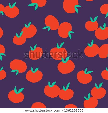 Tomato pattern. Seamless background with red tomatoes. Vector te Stock photo © popaukropa