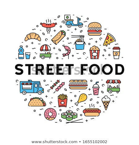 ijs · hot · dog · ingesteld · fast · food · posters · donut - stockfoto © robuart