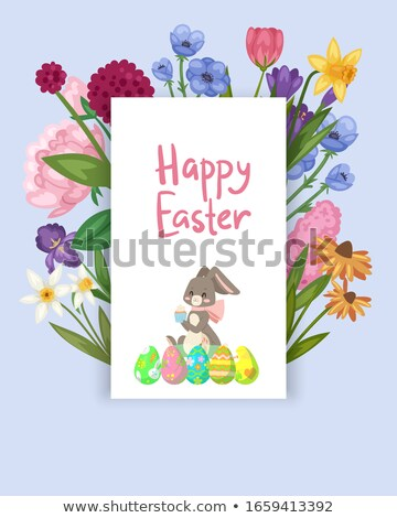 Colorful Happy Easter Greeting Card with Rabbit, Smiling Bunny with Egg Stock photo © smeagorl