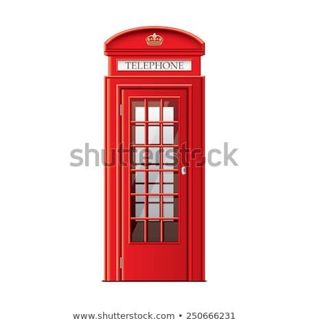 Ikonik İngilizler eski kırmızı telefon kutu Stok fotoğraf © vwalakte