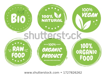 Bio Product, eco organic leaf emblem, sticker or logo. Vector illustration isolated on white backgro stock photo © kyryloff