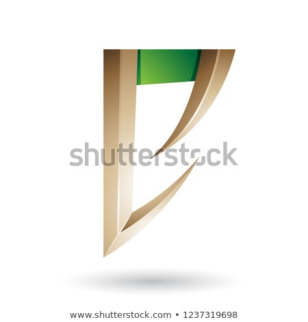 Beige and Green Arrow Shaped Letter E Vector Illustration Stock photo © cidepix