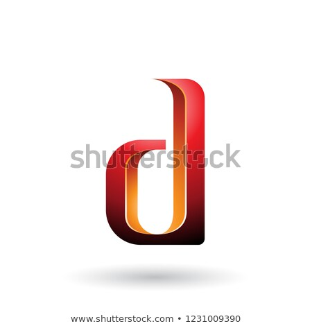 Orange and Red Shaded Letter D Vector Illustration Stock photo © cidepix