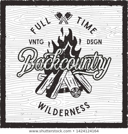 Vintage hand drawn camping poster. Backcountry Full Time Wilderness typography badge. Distressed sil Stock photo © JeksonGraphics