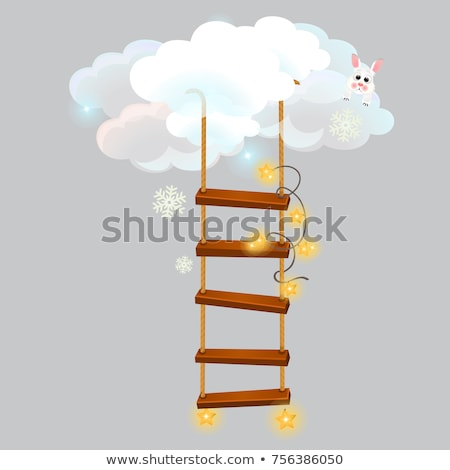 The hanging ladder leading into the snow clouds isolated on grey background. Sketch for greeting car Stock photo © Lady-Luck
