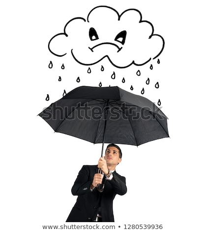 businessman with umbrella and a angry cloud with rain concept of crisis and financial troubles iso stock photo © alphaspirit