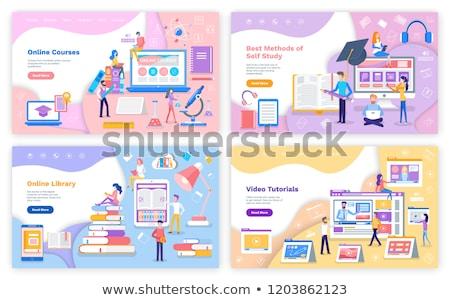On-line fonte biblioteca estudar tutorial vídeo Foto stock © robuart