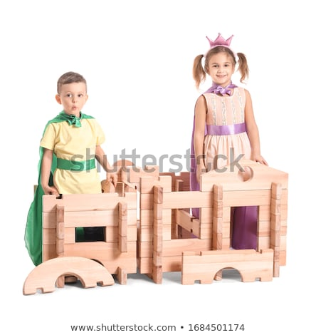 Boy and girl playing hero Stock photo © colematt