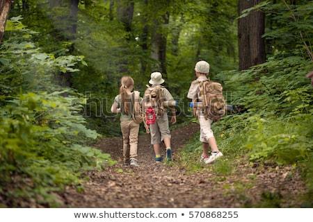 Grupo escoteiro floresta ilustração menina cara Foto stock © bluering