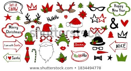 Karácsonyi üdvözlet sablon mikulás manó illusztráció háttér Stock fotó © colematt