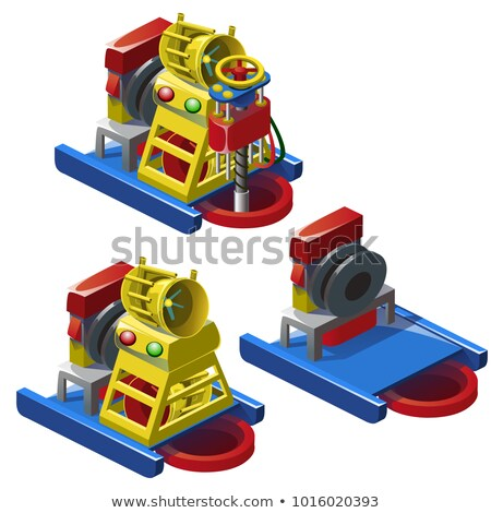 The set of stages of construction of drill station isolated on white background. Vector cartoon clos Stock photo © Lady-Luck