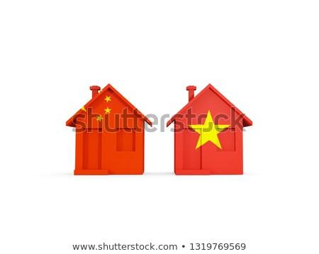 Dois casas bandeiras China Vietnã isolado Foto stock © MikhailMishchenko