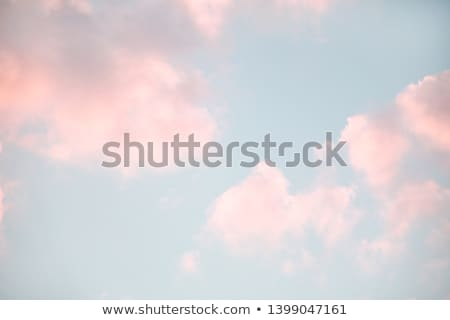 Pink fluffy clouds in the blue sky at sunset Stock photo © MarySan