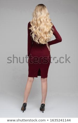 lenyűgöző · nő · tökéletes · hullámos · szőke · haj · hátulnézet - stock fotó © studiolucky