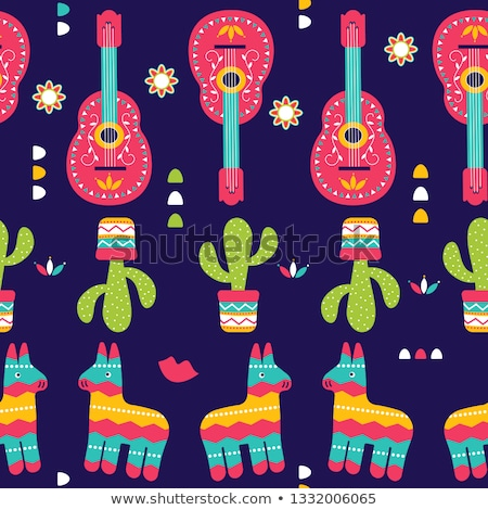 Cinco de Mayo card of mariachi guitar decoration Stock photo © cienpies