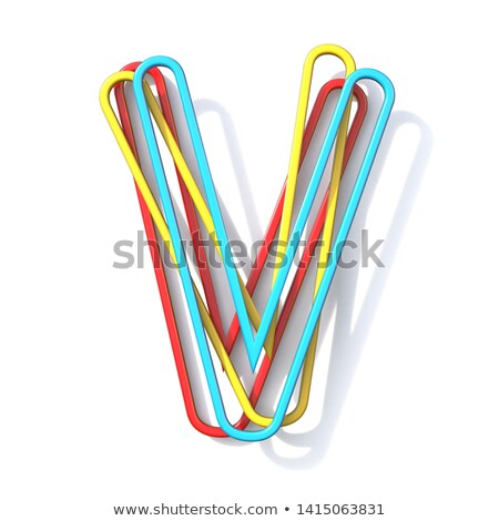 three basic color wire font letter v 3d stock photo © djmilic