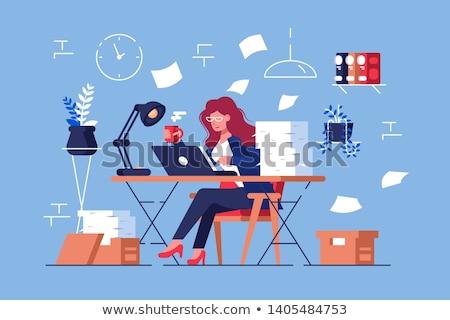 Nagy mennyiség munka elfoglalt túlhajszolt nő Stock fotó © jossdiim