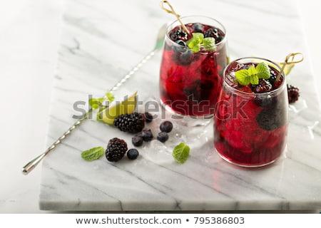 夏 カクテル ブラックベリー 氷 ミント アイスキューブ ストックフォト © furmanphoto