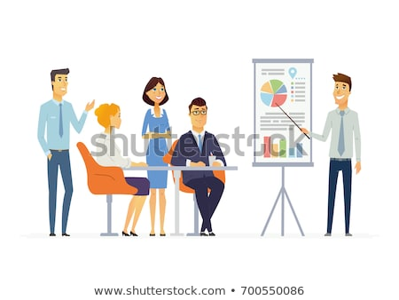 Chart Report, Cartoon Character, Colleagues Vector Stock photo © robuart