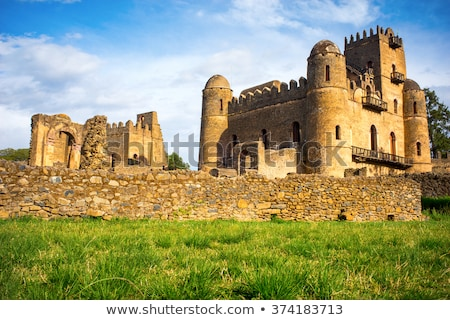 Város Etiópia panoráma királyi palota kastély Stock fotó © artush
