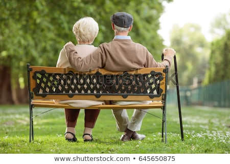 Stock photo: Old Pensioners Walking Outdoors, Rest in Park