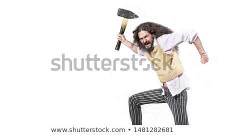 Retrato zangado nerd machado forte Foto stock © majdansky