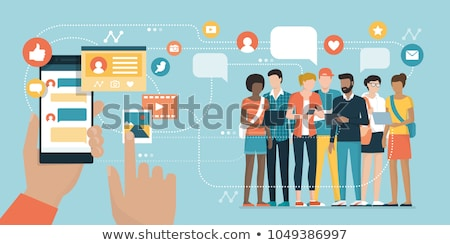 Group of people with devices in hands teamworking on laptops, tablets and prepare report Stock photo © ra2studio