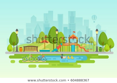 leisure in city park flat vector illustration stock photo © robuart