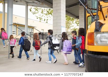okula · geri · otobüs · çocuklar · taşımacılık · okul · vektör - stok fotoğraf © robuart