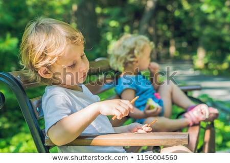 konfliktus · játszótér · fiú · lány · veszekedés · gyerekek - stock fotó © galitskaya